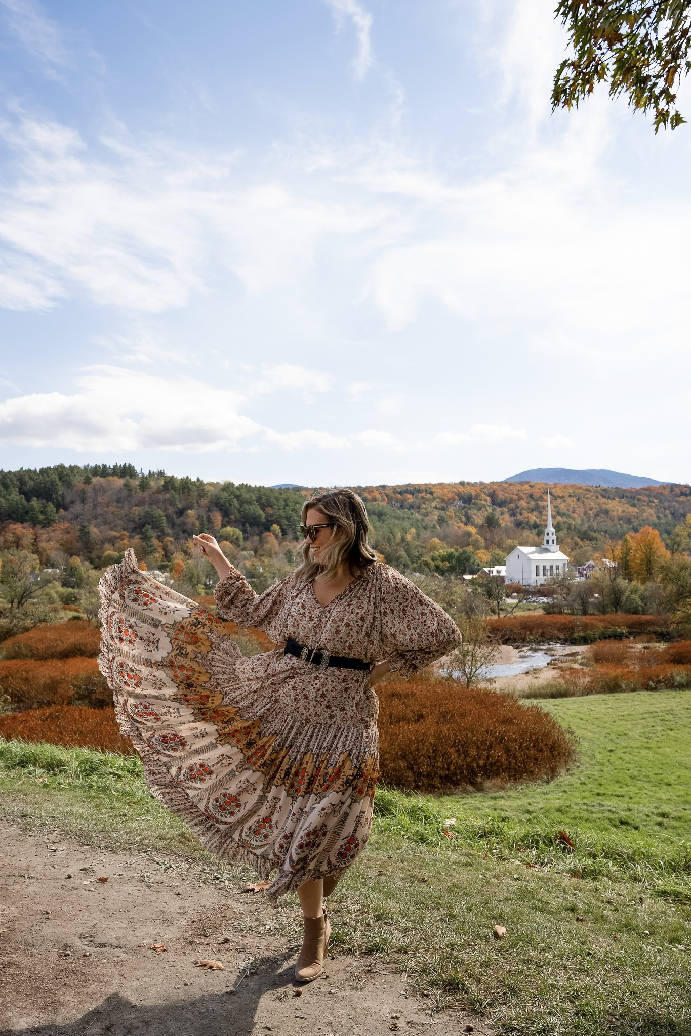 Free People Feeling Groovy Border Maxi Dress | Stowe Vermont Church | What to Wear in Vermont in the Fall | Vermont Packing List for Fall | What to Wear in Vermont in October | What to Wear on a Fall Vacation | Fall Outfits