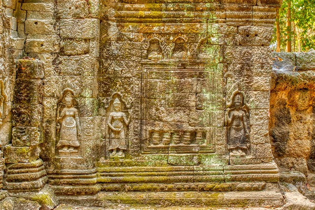 Stone carvings in Ta Som temple ruins in Angkor Historical Park near Siem Reap, Cambodia