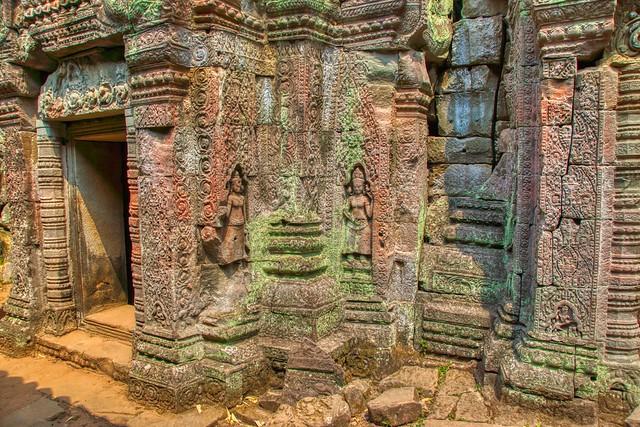 Stone carvings in Preah Khan temple ruins in Angkor Historical Park near Siem Reap, Cambodia
