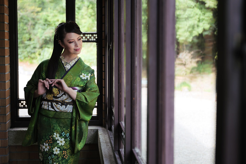 A kimono beauty in a building designed by Frank Lloyd Wright.