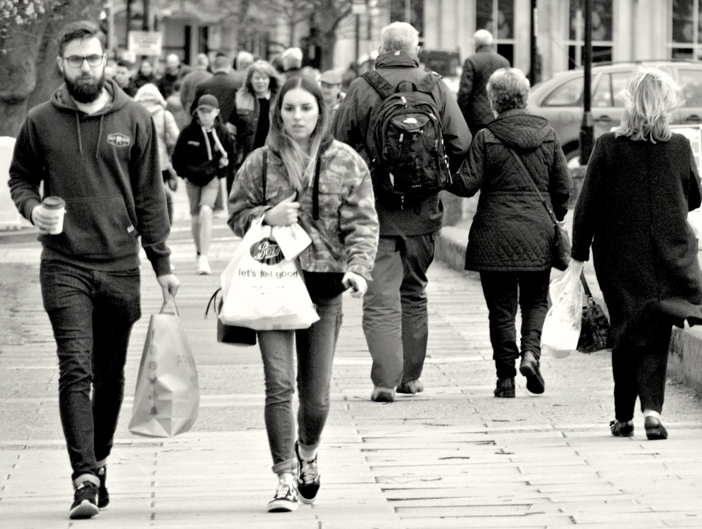 People on the street at Harrogate, Yorkshire