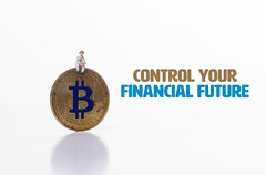 Man sitting on Bitcoin coin with Control your financial future text