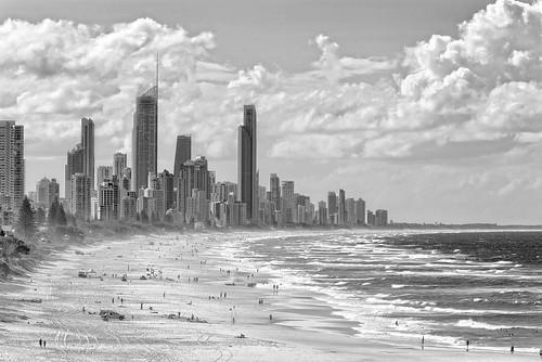 seascape landscape blackandwhite bw nikond800 goldcoast surfersparadisefromnorthburleighsurfers paradise cityscape skyline