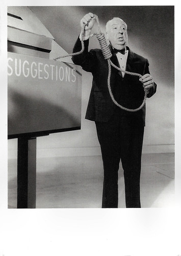 Alfred Hitchcock promoting Rope (1948)