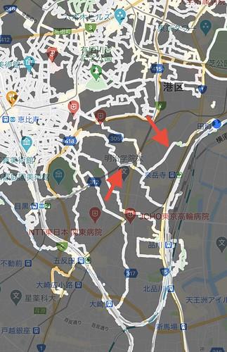 ウォーキングルート 恵比寿→田町