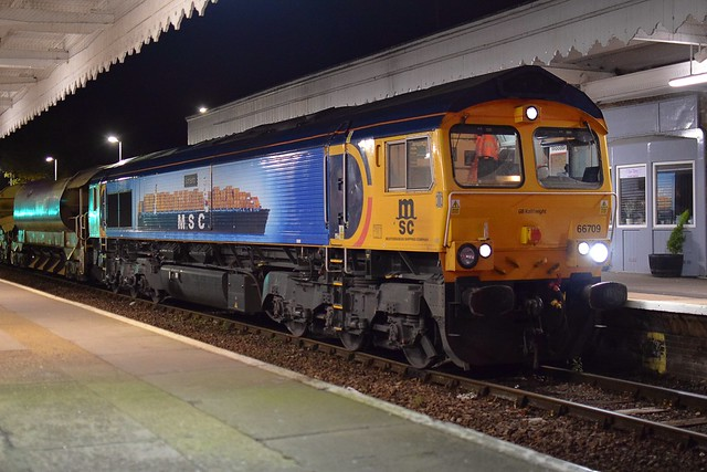 GBRf Loco 66709 'Sorrento' at Woodbridge, with 6T65, Whitemoor Yard - Saxmundham Civil Engineers working, heavily loaded with Ballast and Steel Sleepers. 23 10 2020