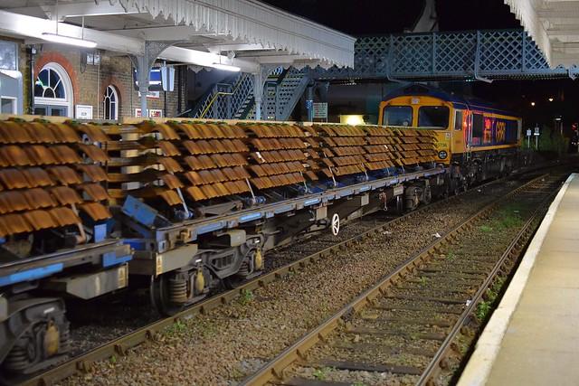GBRf Loco 66736 'Wolverhampton Wanderers' departs Woodbridge, with 6T66, Whitemoor Yard - Saxmundham Civil Engineers working, heavily loaded with Steel & Concrete Sleepers. 23 10 2020