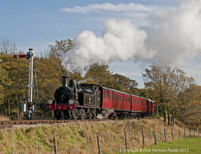 SR Class 02 No 24 'Calbourne' approaches Haven Street Station (Isle of Wight Steam Railway) on 5th November 2012