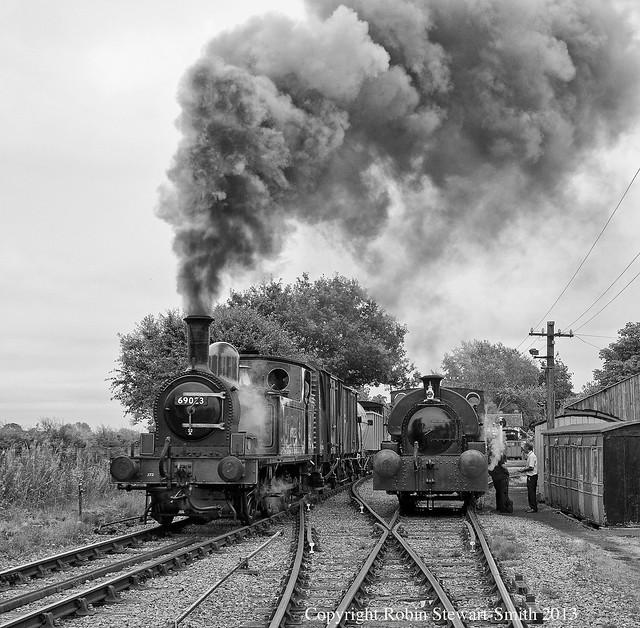 RJSS 0714 2982 BW LNER J72 69023 & Peckett 'Myrddin' at Murton Park Station (DVLR) on 20th July 2013 copy