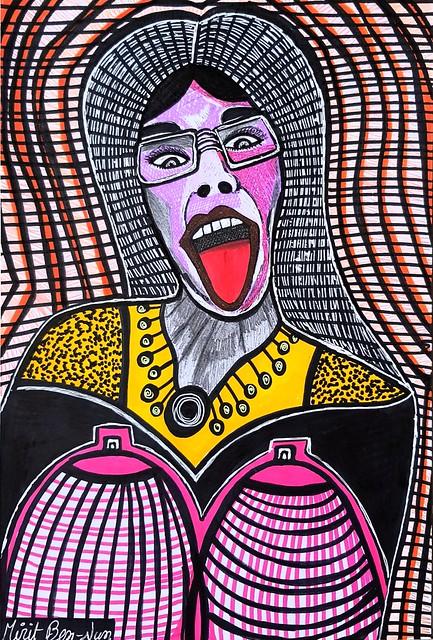 ציור פרצופים הבעות פנים מירית בן נון ציירת ישראלית מודרנית