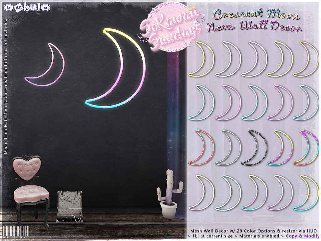 [ bubble ] Crescent Moon Neon Wall Decor