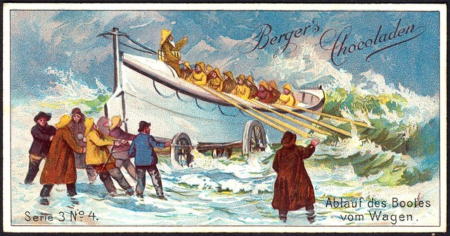 German Tradecard - Getting the Boat off the Wagon
