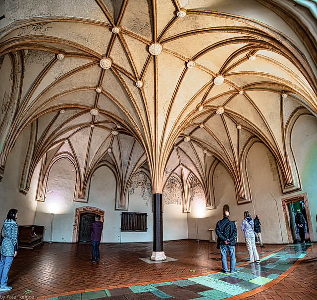 Malbork Castle: multiphoto panorama of elegant rooms within the castle, Malbork, Poland.  7121-Panoa