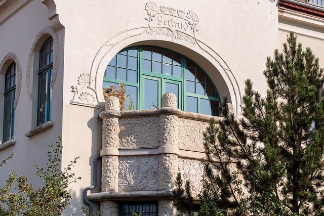 Blankenburg (Harz): Jugendstilvilla in der Herzogstraße, Architekturdetail - Art Nouveau villa in Herzogstraße, architecture detail