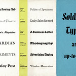 Sun, 2020-10-25 16:32 - An interesting folded leaflet issued by Soldans Ltd. printer's machinery and typeface agents of London who appear to have specialised in acting as agents of several Continental type founders, especially German concerns. The leaflets I have are mostly undated but they came with some post-WW2 items and have a certain 1950s feel but they mostly refer to pre-WW2 typefaces. That said this leaflet says 'in the past ten years' and so it could be late 1930s.  On this leaflet the products of the great German concern Ludwig & Mayer loom large along with many typefaces designed by Jakob Erbar. These include the variations on the Erbar family, issued in the mid-1920s onwards, as well as various others here given their UK or export names. These include; Sketch - Skizze, Ludwig & Mayer, 1936. Samson Script - Prägefest, 1926. Monastic - Lichte Erbar Versalen, 1913/14. Luminous - Erbar Medieval Lichtfelt, 1922. Luxor - Welt-Antiqua, by Hans Wagner in 1931-4.  Others showing include Motor, designed by Karl Sommer in 1930; Allegro designed by Hans Bohm in 1936. Florian H, below, has again kindly added some details regarding this leaflet - thank you!