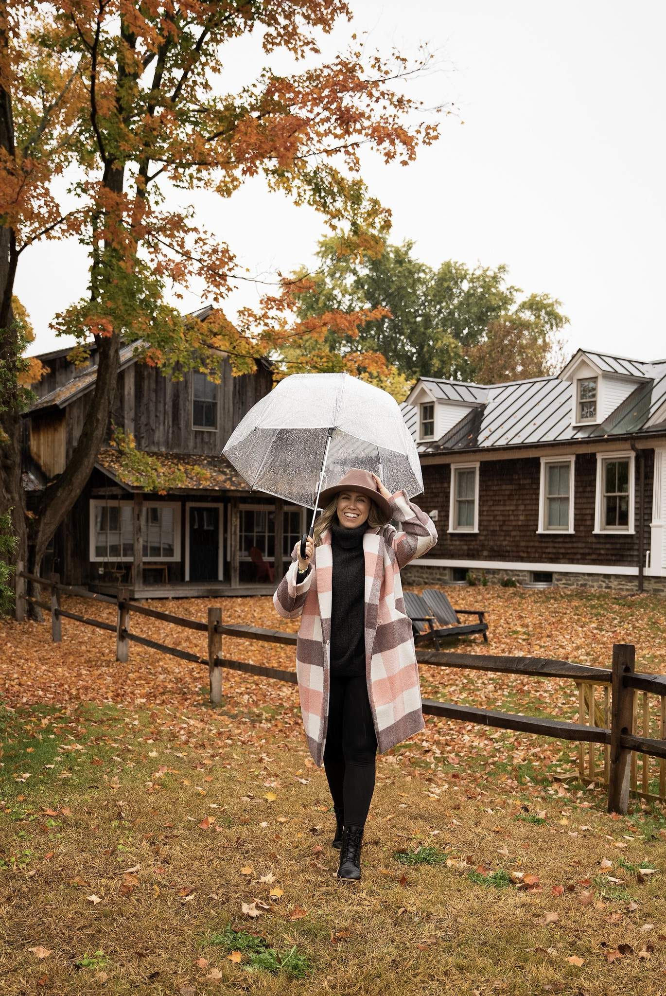 Pink Plaid Winter Coat | Stowe Vermont in the Rain | What to Wear in Vermont in the Fall | Vermont Packing List for Fall | What to Wear in Vermont in October | What to Wear on a Fall Vacation | Fall Outfits
