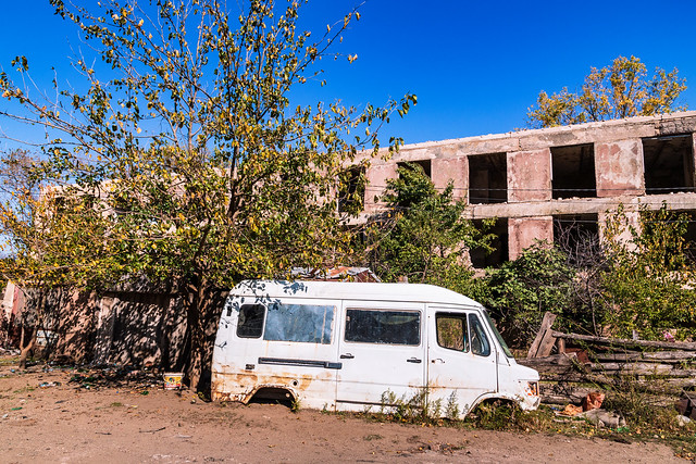 Abandoned car in Chiatura wasteland