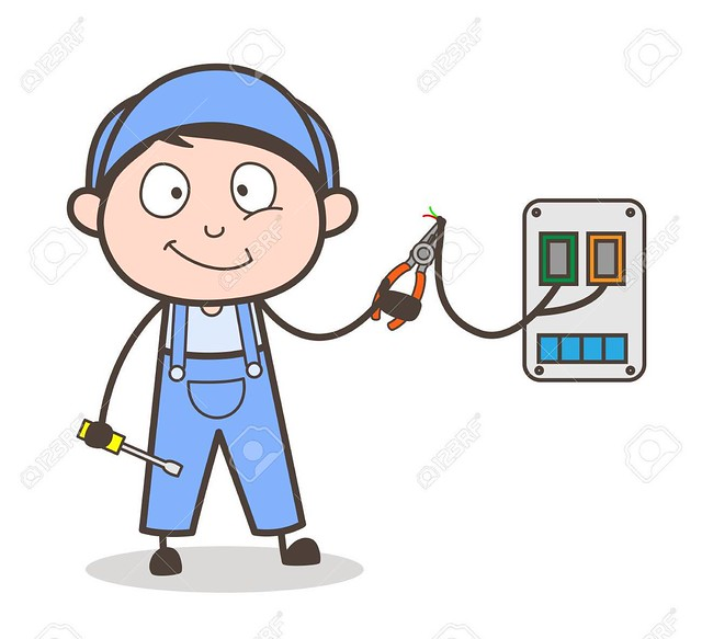 Cartoon Electrician Worker Vector Illustration
