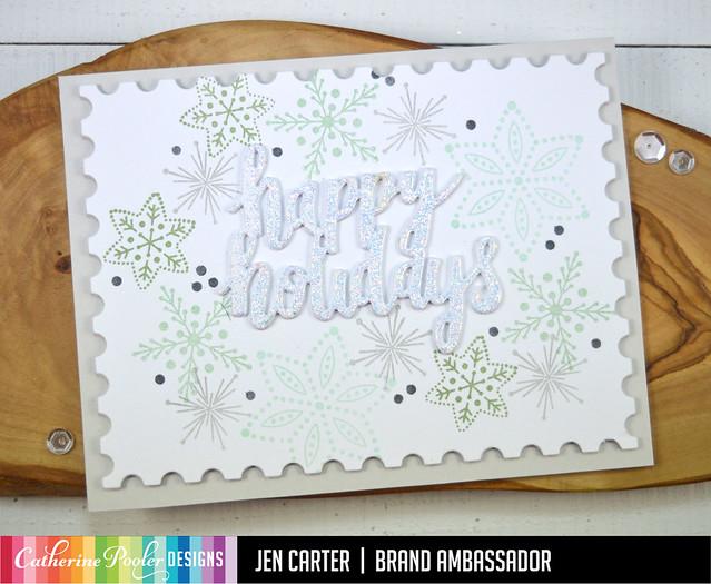 Jen Carter Nordic Stars Snowflakes Happy Holidays Postage