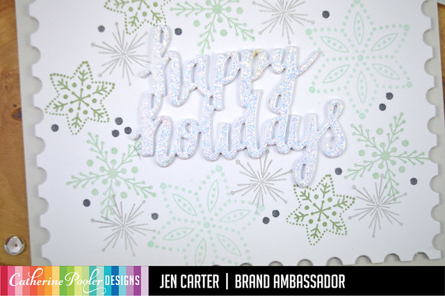 Jen Carter Nordic Stars Snowflakes Happy Holidays Postage Closeup