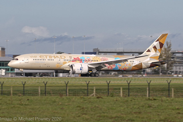 A6-BLO - 2017 build Boeing B787-9, Etihad's Choose Thailand logojet arriving at Manchester
