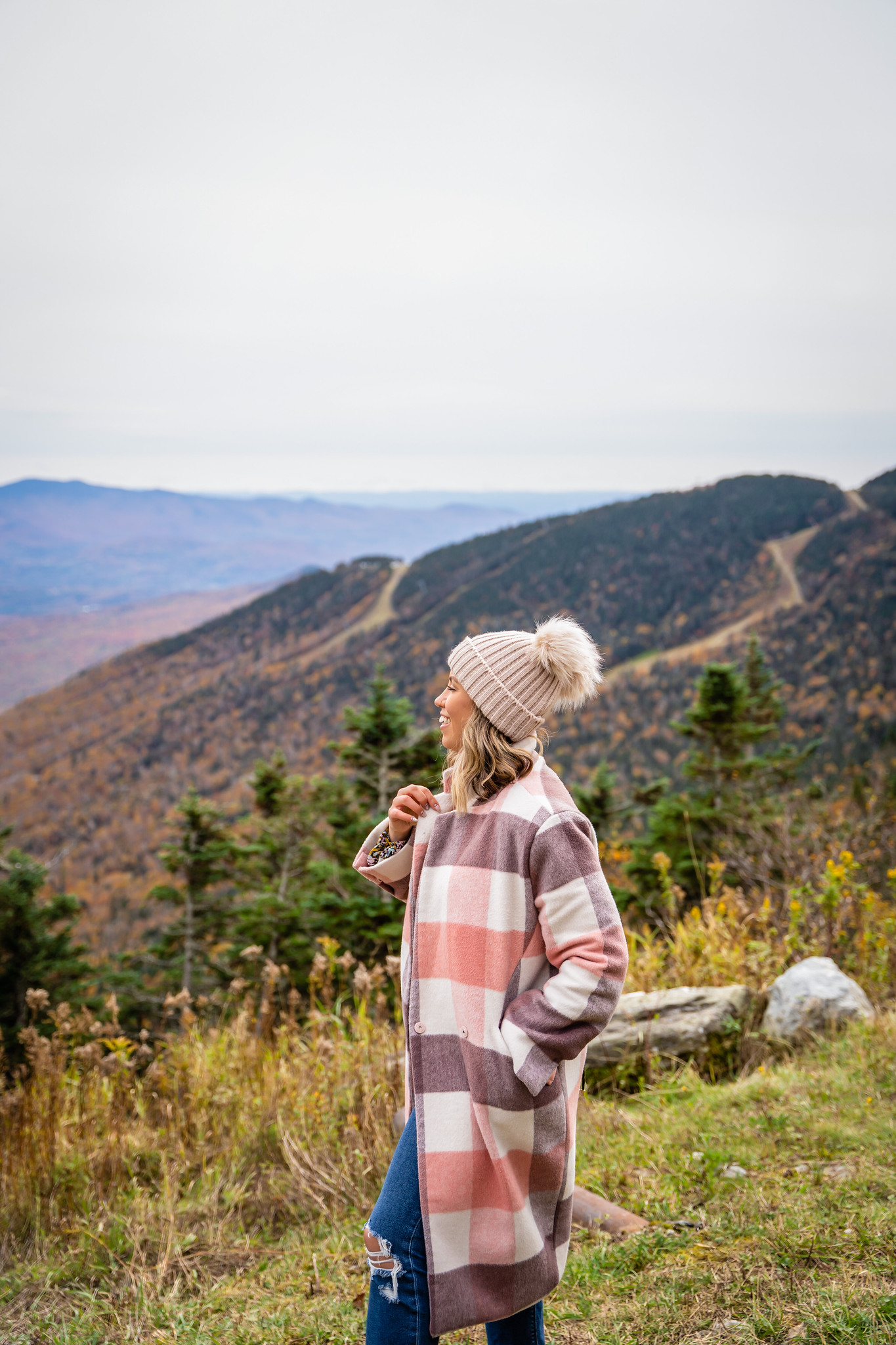 Pink Plaid Winter Coat & Pom Pom Beanie | Stowe Mountain Resort Mount Mansfield | What to Wear in Vermont in the Fall | Vermont Packing List for Fall | What to Wear in Vermont in October | What to Wear on a Fall Vacation | Fall Outfits