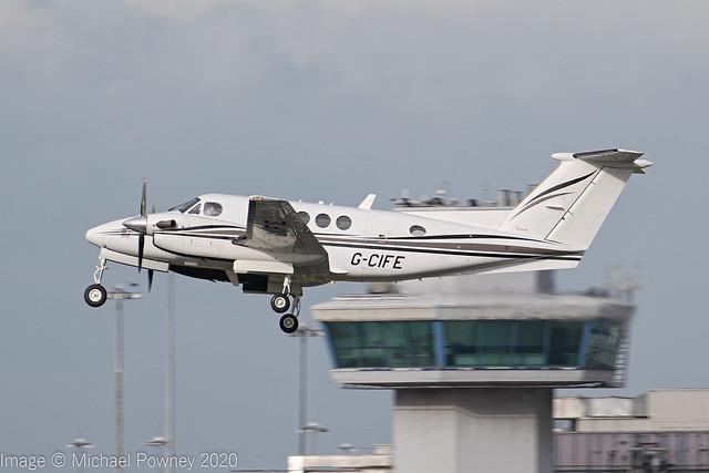 G-CIFE - 2003 build Beech B200 Super Kingair, climbing on departure from Runway 23R at Manchester