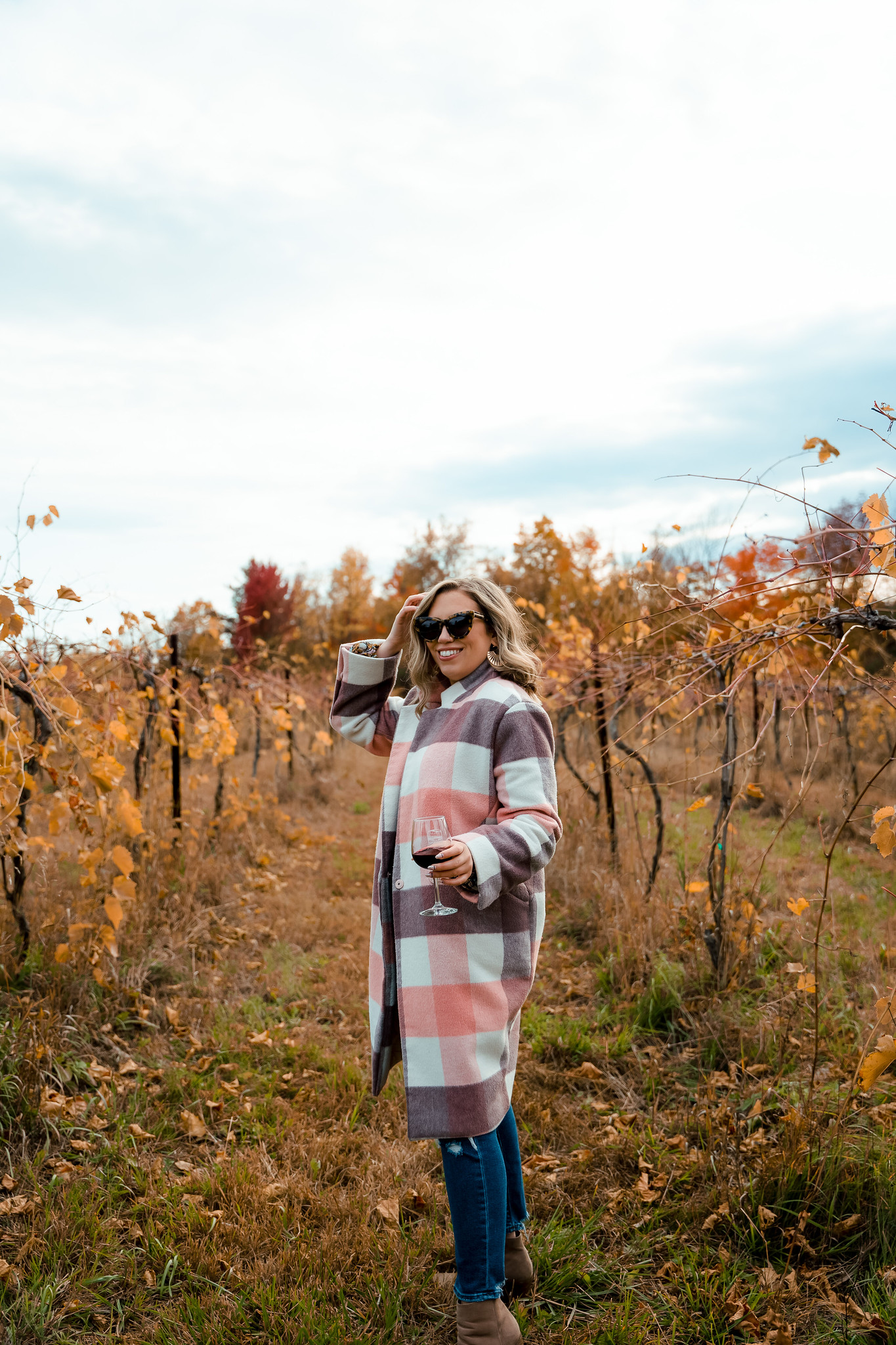 What to Wear to a Vineyard in Fall | Winery Outfit Inspiration | Pink Plaid Winter Coat | Shelburne Vineyard | What to Wear in Vermont in the Fall | Vermont Packing List for Fall | What to Wear in Vermont in October | What to Wear on a Fall Vacation | Fall Outfits