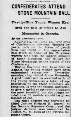 Stone Mountain Distinguished Service Medal newspaper article