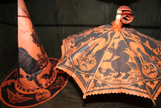 Vintage Halloween witch hat and parasol noisemaker