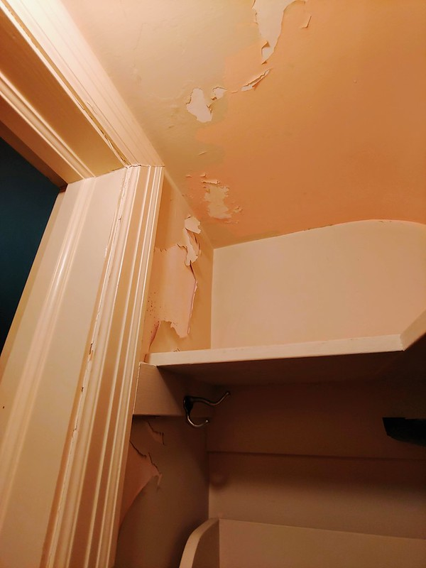 Painting the Den: Before (Closet paint peeling)