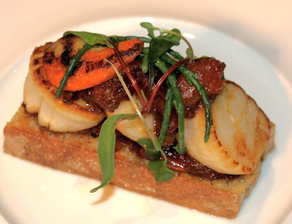 Scallops with Samphire and Cherry Tomato Jam on Toast by Chef Nigel Haworth