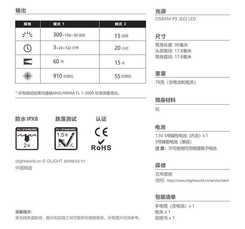 OLIGHT i5T Ti 鈦 300流明 EDC手電筒 -13