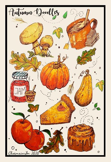 Autumn Doodles in Colour: Arteza Brush Pens in an Arteza Watercolour Sketchbook & Faber Castell Pitt Artist Pens 0.5 & 0.7