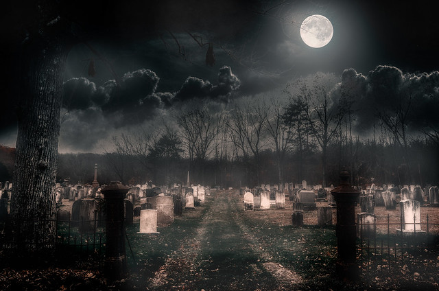 Haunted Union Cemetery by Moonlight
