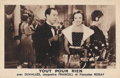 Duvallès and Jacqueline Francell in Tout pour rien (1933)