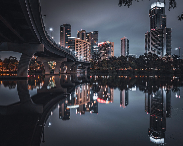 Pfluger Pedestrian Bridge at Night in Austin Texas