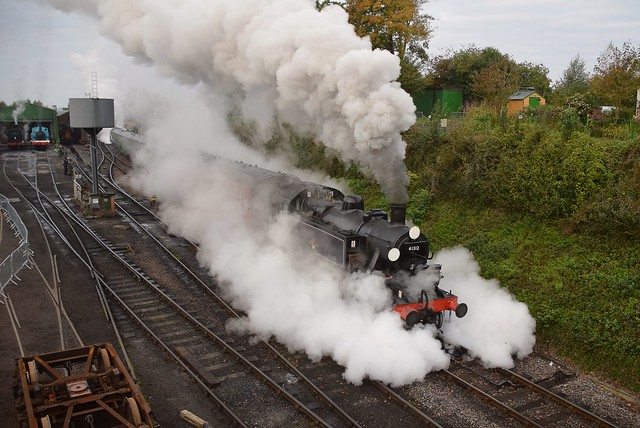 Ivatt Class 2MT Tank Loco No.41312 makes a steamy departure from Ropley with the days first service to Alton. Mid Hants Railway Autumn Gala. 18 10 2020