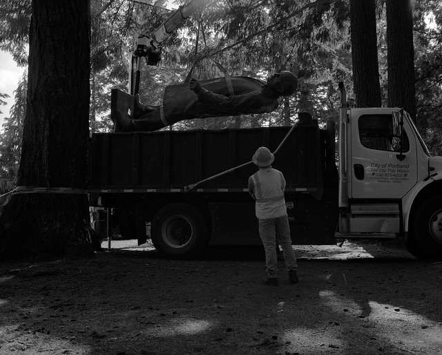 Toppled Statue of Harvey Scott Being Loaded Onto a Truck, Portland