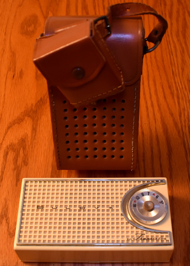 Vintage Bulova Transistor Radio With Leather Case, 290P Series, AM Band, 4 Transistors, Made In USA, Circa 1957