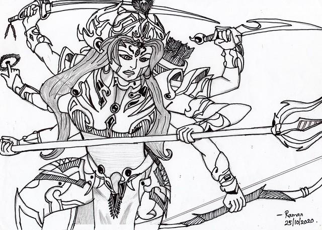 Durga Maa Drawing by me