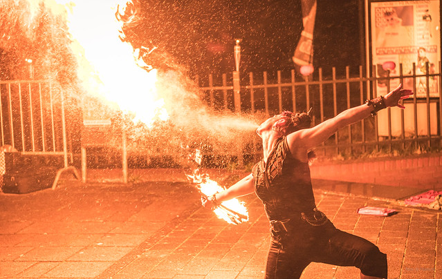 Fire breather girl.