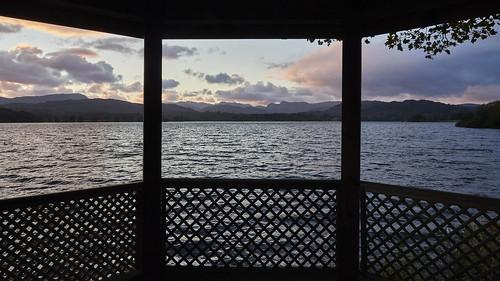 gazebo window sunset lake windermere cumbria lakedistrict uk olympus omdem1markiii 12100 f4