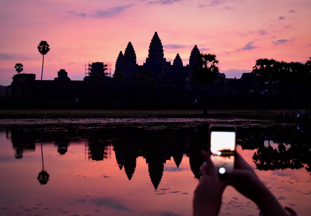Capturing a beautiful sunrise at Angkor Wat, Cambodia