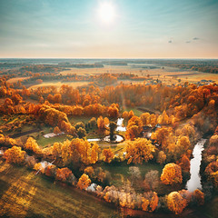 Autumn palette | Taurage county | Lithuania aerial