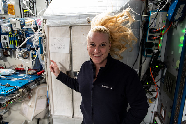 Astronaut Kate Rubins votes from the space station