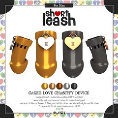 .:Short Leash:. Caged Love Chastity Device