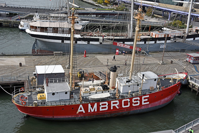 Picture Taken From The Rooftop At Pier 17 At The South Street Seaport Showing The Lightship LV-87, Also Known As AMBROSE, Was Built In 1907 As A Floating Lighthouse. Photo Taken Sunday October 25, 2020