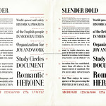 Mon, 2020-10-26 19:20 - Another typeface synopsis leaflet issued by Soldans Ltd., London, who were an agent for various items of printers sundries and typefaces, specialising mostly in Continental 'faces including those from major German typefounders such as Ludwig & Mayer.  Dating these sheets is difficult - some in the small collection appear to be immediate post-WW2. Equally, I can find no records of a 'Slender' typeface and it may be it is the English market's name for an overseas typeface. The sheet is marked 'a preliminary synopsis' so I wonder if it was issued in c1938/9?  Again, see below, and many thanks to Florian H who has identified this as the 1938 issued 'Die Schlanke' ('the slender one') designed by Walter Höhnische for Ludwig & Mayer.