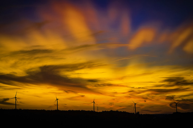 Glowing last light at the windfarm